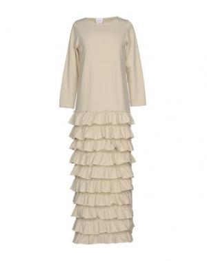 Длинное платье PINK BOW. Цвет: бежевый