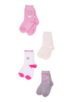 Носки, 4 пары Malerba. Цвет: серый, розовый