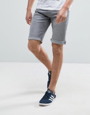 Esprit Светло-серые джинсовые шорты с закатанными краями. Цвет: серый