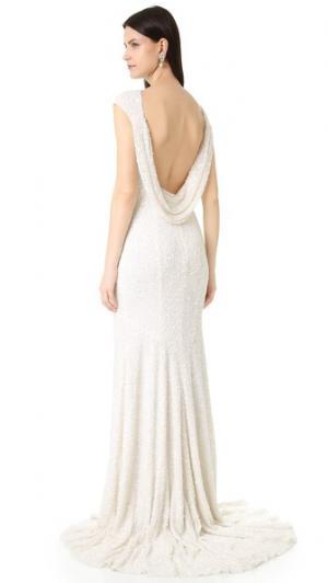 Вечернее платье Hayden с короткими рукавами и воротником-хомутом на спине Theia. Цвет: золотой