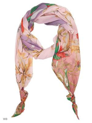 Двойной шарф-долька с узелками Сальвадор из шифона Оланж Ассорти. Цвет: сиреневый, светло-желтый, розовый