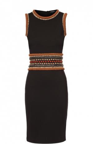 Облегающее платье без рукавов с декоративной отделкой Dsquared2. Цвет: черный