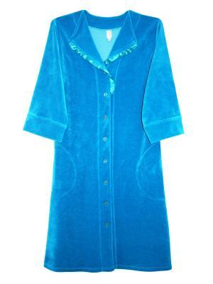 Велюровый халат Тефия. Цвет: бирюзовый