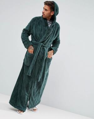 ASOS Длинный флисовый халат с капюшоном. Цвет: зеленый