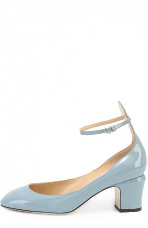 Лаковые туфли Tan-Go с ремешком на щиколотке Valentino. Цвет: голубой
