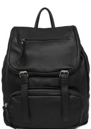 Черный рюкзак из натуральной кожи Bruno Rossi. Цвет: черный