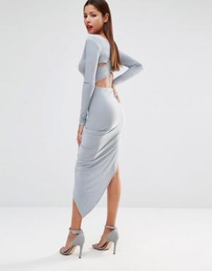 Club L Платье с перекрестным дизайном на спинке и асимметричной юбкой. Цвет: серый