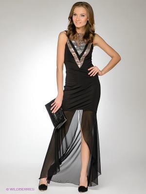 Платье FRENCH HINT. Цвет: черный, коричневый, серебристый