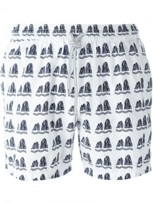 Плавательные шорты с абстрактным принтом Capricode. Цвет: белый