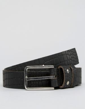 Systvm Кожаный ремень с крокодиловым рисунком. Цвет: черный