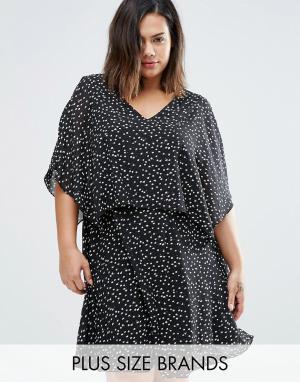 Koko Многослойное платье с открытыми плечами Plus. Цвет: черный