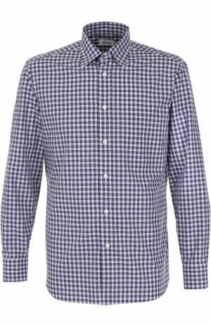 Хлопковая рубашка в клетку Brioni. Цвет: синий