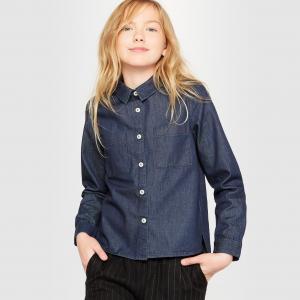 Рубашка джинсовая на 10-16 лет R essentiel. Цвет: голубой потертый,синий потертый