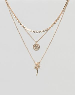 ASOS Многорядное ожерелье в винтажном стиле с подвесками виде монеты и ро. Цвет: золотой