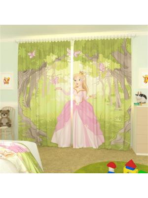 Фотошторы Принцесса и бабочки Олимп Текстиль. Цвет: рыжий, светло-желтый