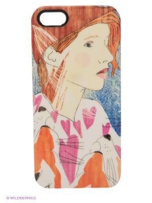 Чехол для iPhone 5/5s Ginger Kawaii Factory. Цвет: рыжий, белый, синий