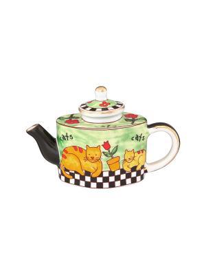 Сувенир-чайник Важные коты Elan Gallery. Цвет: зеленый, оранжевый, черный