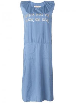 Джинсовое платье с вышивкой Jc De Castelbajac Vintage. Цвет: синий