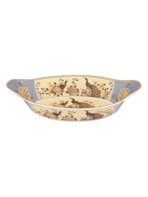 Блюдо - лодочка Павлин на бежевом Elan Gallery. Цвет: бежевый, золотистый, коричневый