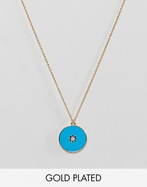 Orelia Позолоченное ожерелье с эмалированной подвеской. Цвет: золотой