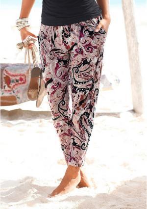 Пляжные брюки Lascana. Цвет: бежевый/лиловый с рисунком, черный