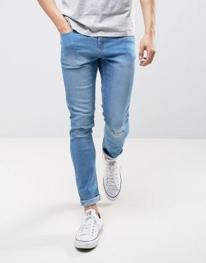 LDN DNM Рваные джинсы с напылением. Цвет: синий