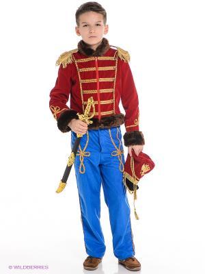 Карнавальный костюм Гусарский офицер Батик. Цвет: красный