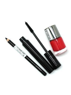 Набор декоративной косметики 3 по цене 1 POETEQ. Цвет: черный, красный