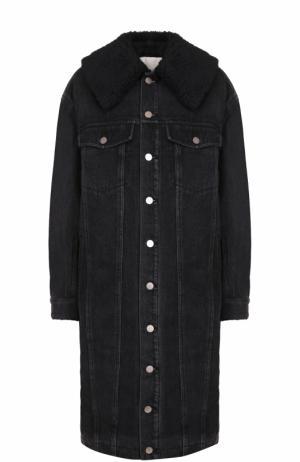 Джинсовое пальто свободного кроя с отложным воротником 3.1 Phillip Lim. Цвет: черный