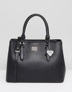 Marc B Черная минималистическая сумка-тоут с ремешком через плечо. Цвет: черный