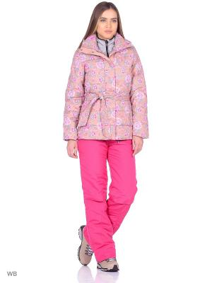 Пуховик F5. Цвет: бежевый, розовый