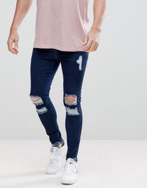 SikSilk Рваные обтягивающие джинсы. Цвет: синий