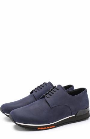 Кожаные кроссовки на шнуровке A. Testoni. Цвет: темно-синий