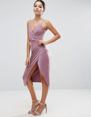 ASOS Платье миди с запахом на юбке. Цвет: фиолетовый