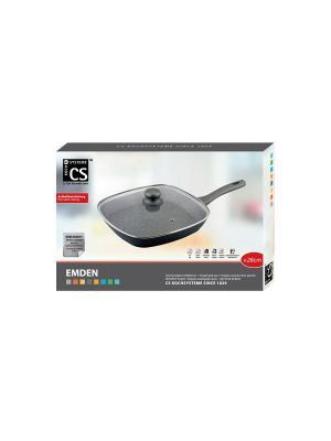Сковорода-гриль EMDEN с крышкой из кованого алюминия мраморным покрытием, 28x28см Koch Systeme. Цвет: серый