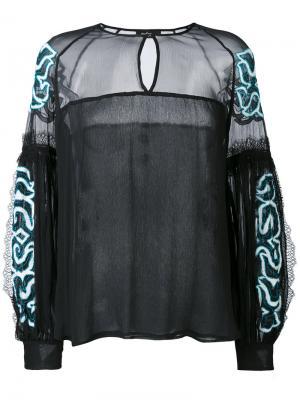 Блузка с вышивкой Wandering. Цвет: чёрный