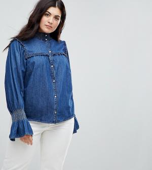 ASOS Curve Синяя джинсовая рубашка с оборками. Цвет: синий