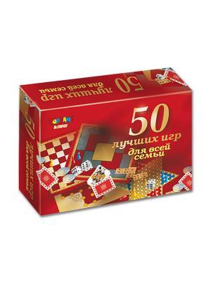Настольно-печатная игра 50 лучших игр для всей семьи TopGame. Цвет: темно-красный, желтый, красный