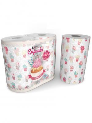 Полотенца кухонные Cupcakes серия Kartika 2-х слойные с рисунком, 2 рулона по 75 листов World Cart. Цвет: белый