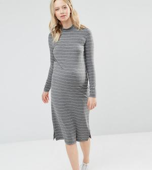 Mama.licious Трикотажное облегающее платье для беременных в полоску Mamalicious. Цвет: серый