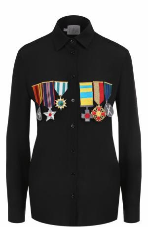 Однотонная блуза с контрастными нашивками Stella Jean. Цвет: черный
