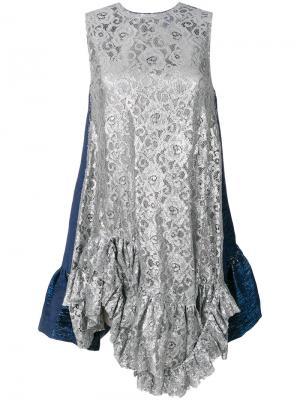 Кружевное платье-туника Jourden. Цвет: синий