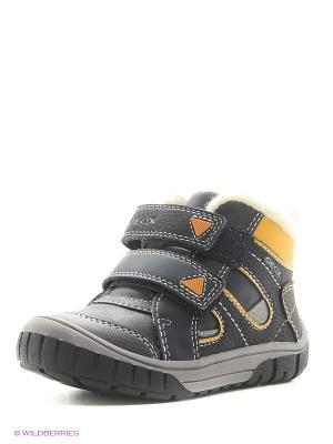 Ботинки GEOX. Цвет: темно-синий, желтый