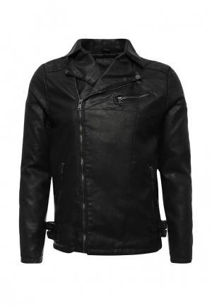 Куртка кожаная Hopenlife. Цвет: черный