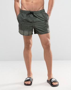 ASOS Короткие шорты для плавания в клетку цвета хаки. Цвет: зеленый
