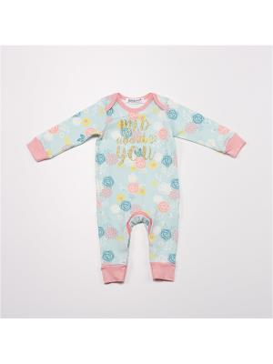 Комбинезон нательный для малыша BABALUNO. Цвет: бирюзовый, розовый, синий