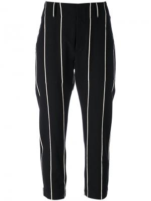 Укороченные брюки в полоску Brunello Cucinelli. Цвет: чёрный