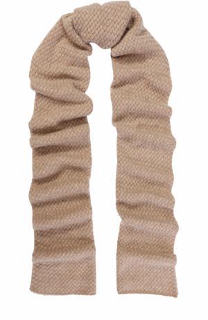 Кашемировый шарф с отделкой из кристаллов Swarovski William Sharp. Цвет: бежевый
