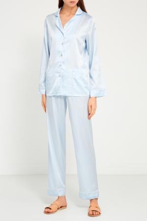 Шелковая пижама с брюками Primrose. Цвет: голубой