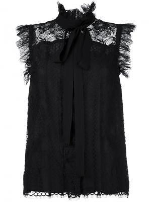 Кружевная блузка без рукавов Elie Saab. Цвет: чёрный